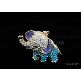 Diamond Studded Key Chain - Elephant Design - Blue Color