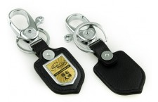 Shiny Metal - Black Leather Key Chain