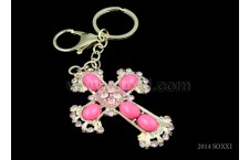 Diamond Studded Key Chain - Cross Design - Pink color