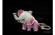 Diamond Studded Key Chain - Eleplant Design - Pink Color