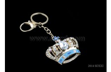 Diamond Studded Key Chain - Crown Design - Blue Color
