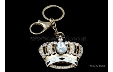 Diamond Studded Key Chain - Crown Design - White Color