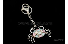 Diamond Studded Key Chain - Crab Design - Pink color