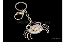 Diamond Studded Key Chain - Crab Design - White Color