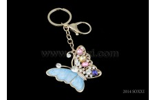 Diamond Studded Key Chain - Butterfly Design - Blue Color