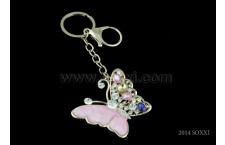 Diamond Studded Key Chain - Butterfly Design - Pink Color