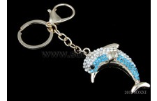 Diamond Studded Key Chain - Dolphin Design - Blue Color