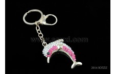 Diamond Studded Key Chain - Dolphin Design - Pink Color
