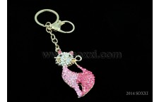 Diamond Studded Key Chain - Cat Design - Pink color