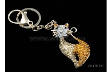 Diamond Studded Key Chain - Cat Design - Yellow Color