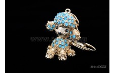 Diamond Studded Key Chain - Dog Design - Blue Color