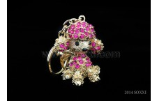 Diamond Studded Key Chain - Dog Design - Pink Color