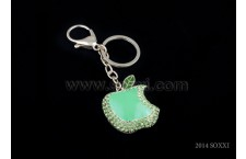 Diamond Studded Key Chain - Bitten Apple Design - Green Color