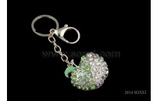 Diamond Studded Key Chain - Apple Design - Green Color