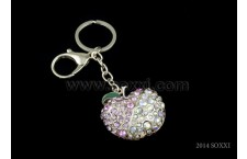 Diamond Studded Key Chain - Apple Design - Pink Color