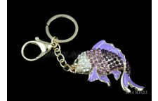 Diamond Studded Key Chain - Fish Design - Purple Color