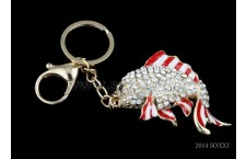 Diamond Studded Key Chain - Fish Design - Red Color