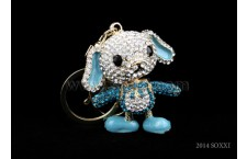 Diamond Studded Key Chain - Dancing Dog Design - Blue Color