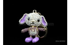 Diamond Studded Key Chain - Dancing Dog Design - Purple Color