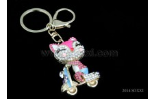 Diamond Studded Key Chain - Cat Design